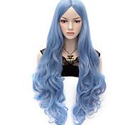 Недорогие -Искусственные волосы парики Естественные кудри Без шапочки-основы Очень длинный Синий