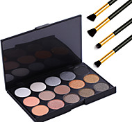 15 colores de maquillaje profesional caliente de la perla de sombra de ojos desnuda paleta de brillo de luz cosmética + 4pcs lápiz pincel