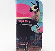 Red Deer Pattern PU Leather Full Body Case with Card Slot and Stand for iPhone 5C