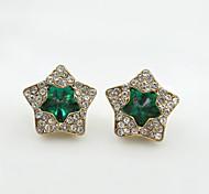 Недорогие -Серьги-гвоздики Кристалл Стразы Позолота Имитация Алмазный 18K золото Мода Черный Зеленый Синий Бижутерия 2 шт.