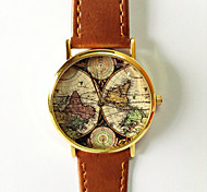 Map Watch Vintage Style Leather Fashion Women Watch World Map Men's Watch Silver and Gold Case Cool Watches Unique Watches Strap Watch