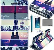 Torre Eiffel mapa patrón de la caja de cuero de la PU de coco Fun® con protector de pantalla y el cable usb y el lápiz óptico para el