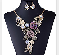 Women's Jewelry Set Floral Luxury Flower Style Vintage Party Flowers Fashion Party Special Occasion Anniversary Birthday Gift Rhinestone
