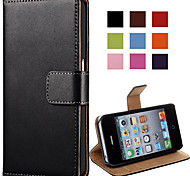 cheap -Elegant PU Leather Case for iPhone 4/4S Flip Stand Design Back Cover Wallet with Card Slot