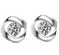 cheap -Women's Stud Earrings Sterling Silver Crystal Flower Jewelry Daily Casual Sports Costume Jewelry
