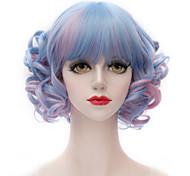 Popular Synthetic Mix Blue And Pink Short Kinky Curly Flat Bang Harajuku Lolita Purecas Lady/Girls Fashion Party Wig