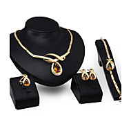 Jewelry Set Topaz Crystal Crystal Gold Wedding Party 1set 1 Pair of Earrings 1 Bracelet Necklaces Rings Wedding Gifts