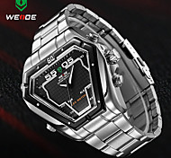 WEIDE® Mens Irregular Watch Analog Digital LED Display Waterproof Stainless Steel Band Luxury Sport Wristwatch Wrist Watch Cool Watch Unique Watch