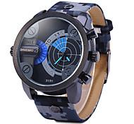 Men's Military Fashion Double Time Leather Band Quartz Watch Wrist Watch Cool Watch Unique Watch