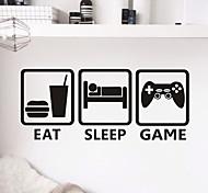 Cartoon / Fashion / Leisure Wall Stickers Plane Wall Stickers EAT SLEEP GAME PVC Wall Stickers