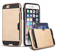 cheap -Case For Apple iPhone 8 iPhone 8 Plus iPhone 6 iPhone 6 Plus Card Holder Shockproof Back Cover Armor Hard TPU for iPhone 8 Plus iPhone 8