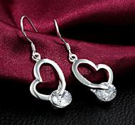 В форме сердца Серьги-слезки Бижутерия Женский Сердце Свадьба Для вечеринок Повседневные Стерлинговое серебро Циркон 1 комплект