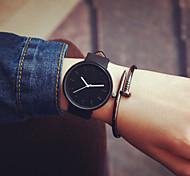 Недорогие -Муж. Жен. Для пары Модные часы Кварцевый Повседневные часы Кожа Группа минималист Черный