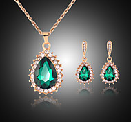 cheap -Women's Rhinestone Rose Gold Plated Jewelry Set Earrings Necklace - Cute Party Cute Style Drop Green Jewelry Set For Party