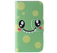 Green Smiling Face Painted PU Phone Case for Galaxy Grand Prime/Core Prime/J5/J1