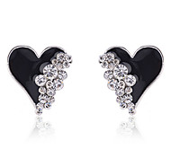 cheap -Stud Earrings Crystal Gold Plated Simulated Diamond Heart Fashion Heart White Black Jewelry Party Daily Casual 2pcs