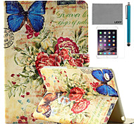 cheap -LEXY® Retro Butterfly Stamp Pattern PU Leather Flip Stand Case with Screen Protector and Stylus for iPad Mini 4