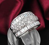 Женский Классические кольца бижутерия Стерлинговое серебро Циркон Стразы Серебрянное покрытие Бижутерия Назначение Свадьба Для вечеринок
