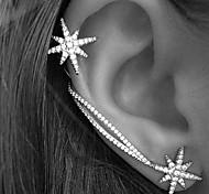 cheap -Women's Star Rhinestone Earrings Ear Cuff - Personalized Fashion European Silver Earrings For Wedding Party Gift