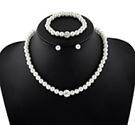 cheap -Women's Pearl Jewelry Set Earrings / Necklace / Bracelets & Bangles - Festival / Holiday / Bridal / Elegant Circle White Jewelry Set /