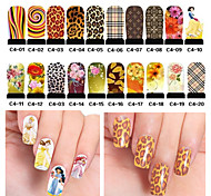 20pcs Water Transfer Nail Art Stickers Decals Full Cover DIY Nail Designs Manicure Nail Tools (C4-001 to C4-020)