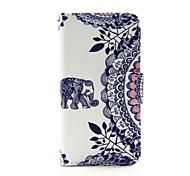 слон и круг цветок пу кожаный бумажник случае полное тело для Ipod Touch 5/6