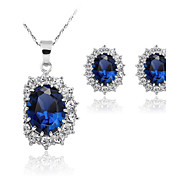 cheap -Women's Synthetic Sapphire Jewelry Set Earrings / Necklace - Fashion Blue Jewelry Set For Wedding / Party / Daily