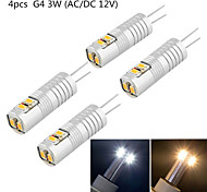 YouOKlight® 4PCS G4 2W 180lm 3000/6000K 6*SMD3014 LED Corn Crystal Lamp Bead (AC/DC12V)