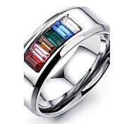 Seven Color Zirconium Titanium Steel Ring Charm