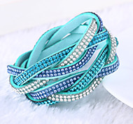 Lureme®Fashion Woven Leather Women's Multilayer Crystal Bracelets Jewelry Christmas Gifts