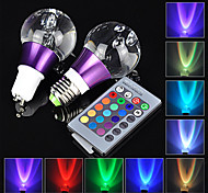 1pc e27 gu10 3w rgb 16 colores con bombilla led controlador reomote 24keys