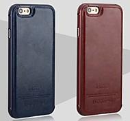 Недорогие -iphone 7 плюс новая роскошная кожа назад и металлический каркас телефон случае для iphone 6 / 6с