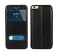 Недорогие -мансардные окна функционировать PU кожа двойной телефон дела для iphone 6 плюс / 6с плюс случае (разных цветов)