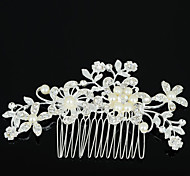 cheap -Women's Elegant Zircon Rhinestone Alloy Hair Comb Flower