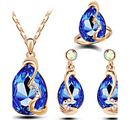 cheap -Women's Austria Crystal Drop Jewelry Set Rings / Earrings / Necklace - Luxury / Fashion Blue / Pink / Light Blue Jewelry Set For