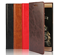 cheap -Genuine Leather Wallet Case Card Holder with Stand Case Full Body Case Solid Color Hard for Huawei P9 / P9 Lite / Honor 7 / Mate 8 / Nexus 6P
