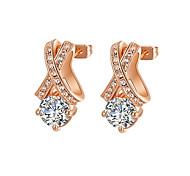 HKTC Clear Crystal Jewelry 18k Rose Gold Plated X Style Cubic Zirconia Diamond Stud Earrings