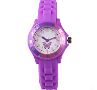 Women's Fashion Watch Casual Watch Quartz Water Resistant / Water Proof Silicone Band Butterfly Cartoon Purple