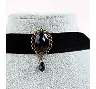 Женский Ожерелья-бархатки Готический ювелирные изделия Татуировка Choker Синтетический сапфир Драгоценный камень Естественный черный