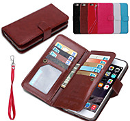PU Leather 2 in 1 Detachable Phone Cases and Back Cover Protective Shell with Wallet 9 Card Slot for iPhone 6S Plus