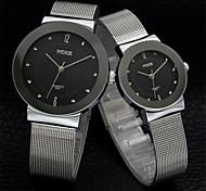 Hombre Mujer Pareja Reloj de Moda Cuarzo Aleación Banda Plata Dorado Negro Plata