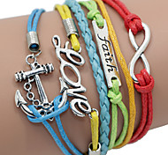 cheap -Men's Women's Leather Others Wrap Bracelet - Unique Design Multi Layer Fashion Blue / Red Bracelet For Daily Casual Sports