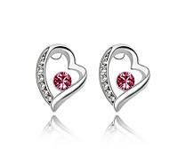Luxury Austria Crystal Stud Earrings for Women Heart Earrings Fashion Jewelry Accessories Silver Plated