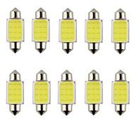 10pcs гирлянда 31мм 36мм 39мм 3w 240lm 6000K COB светодиодный белый свет для автомобиля руля лампочка / лампа для чтения (DC12V)