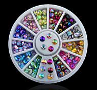 cheap -Colorful Sharp Crystal AB 3d Nail Rhinestone Wheel Shiny Glitter Nail Art Tips Decoration Tools