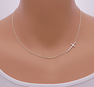 cheap -Women's Cross Pendant Necklace  -  Sideways Simple Style European Circle Silver Golden Necklace For Daily Casual