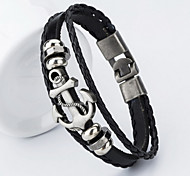 cheap -Men's Leather Bracelet Classic Handmade Leather Anchor Jewelry Christmas Gifts Daily Casual Sports Costume Jewelry Black Brown