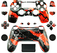 Replacement Controller Case for PS4 Controller (Red Splash)