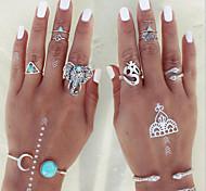 Кольца Повседневные Бижутерия Сплав Женский Кольца на вторую фалангу 1 комплект,8 Разные цвета