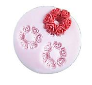 Flores Três furos redondos Flor Silicone Mold Fondant Moldes Sugar Craft Ferramentas Resina Mould moldes para bolos